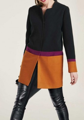 Short coat with wool, black-multicolour