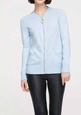 Cardigan with zipper, light blue