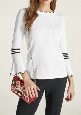 Fine knit sweater, white-black