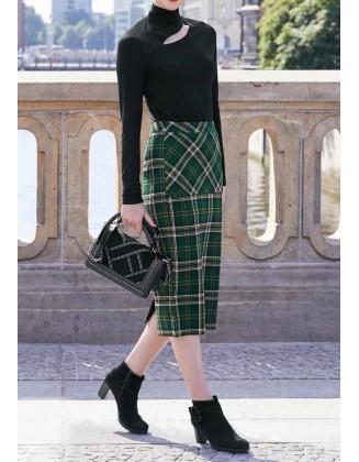 Žalias midi ilgio sijonas