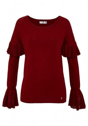 Fine knit sweater with flounces, bordeaux