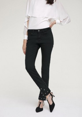 Shapewear jeans with strass, black