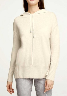 Wool sweater w. Cashmere, off-white