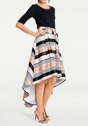 Designer print skirt with tie belt, rose - black