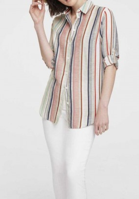 Stripe blouse with linen, colored