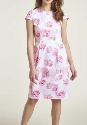 Print dress, white-pink-rose