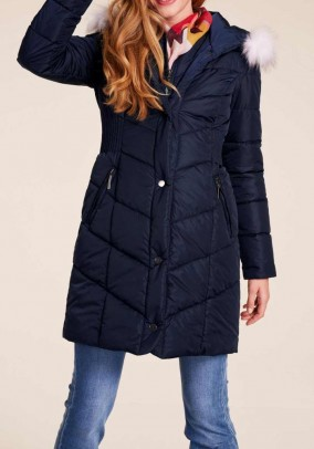 Jacket with weave fur, navy