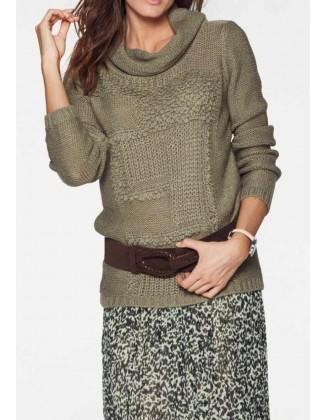 Chaki megztinis aukšta apykakle