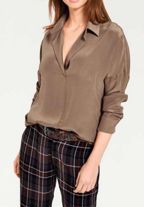 Silk blouse, taupe