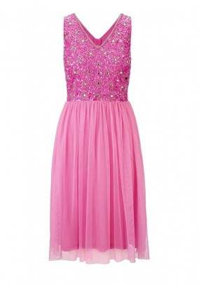 Cocktail dress with sequins, pink