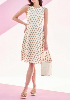 Print dress, offwhite - light taupe