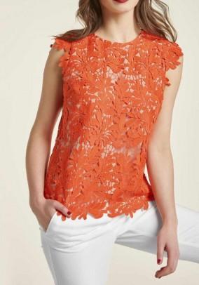 Lace top, blood orange
