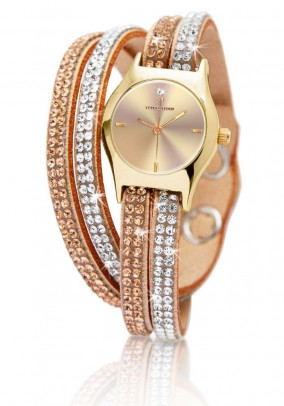 Women's watch with strass, gold coloured