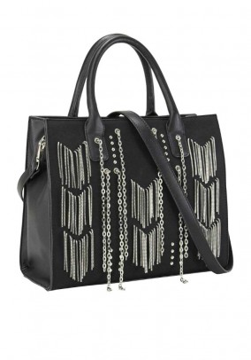 Bag with chains, black