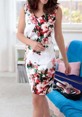 Print dress, white-multicolour