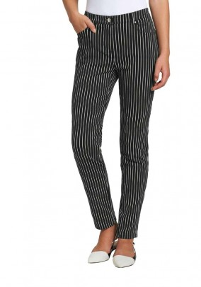 Stretch trousers, black-white