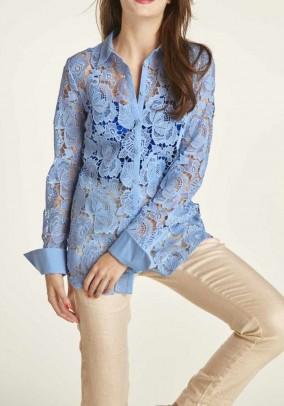 Mėlyni nėriniuoti marškiniai