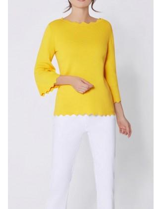 Geltonas Création L megztinis su šilku