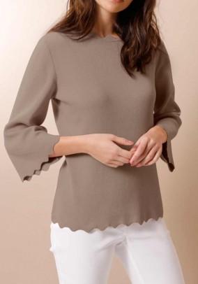 Silk cotton sweater, taupe