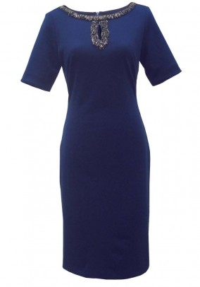 Dress with beads, navy
