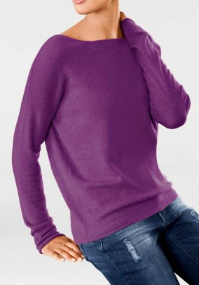 Oversize cashmere sweater, cyclam