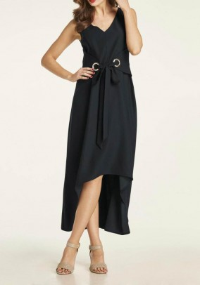 Evening gown with belt element, black