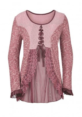 Sweater with lace, rose
