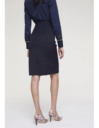 Mėlynas vilnos sijonas