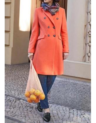 Oranžinis vilnos ir kašmyro paltas