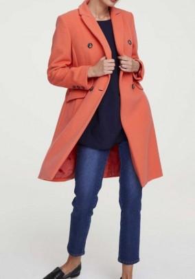 Fleece coat with cashmere, orange