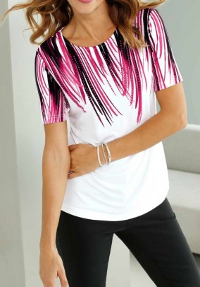 Print shirt with strass, white-cyclam
