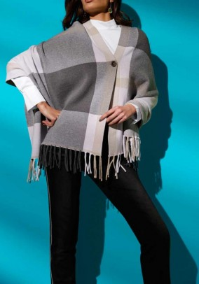 Knit poncho, grey-multicolour