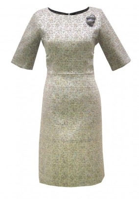 Designer dress, beige-metalic