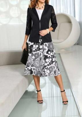 Jersey skirt, black-white