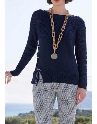 Mėlynas suvarstomas megztinis