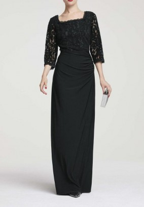 Evening dress with lace, black