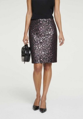 Jacquard skirt, black-rose