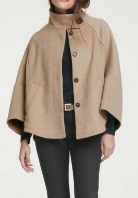 Wool poncho jacket, camel