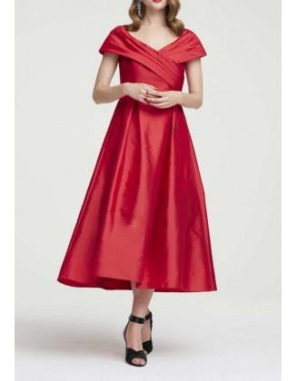 Vakarinė midi raudona suknelė