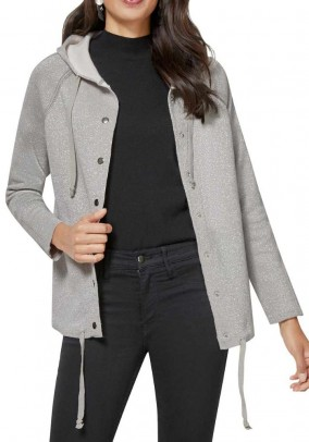 Cardigan with hood, silver grey