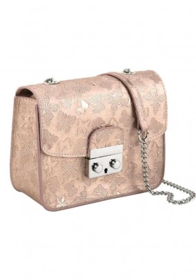Leather bag, rose-gold coloured