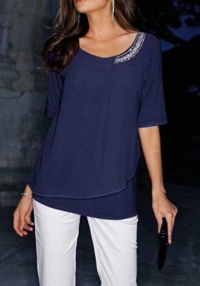 Blouse shirt with strass, navy
