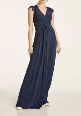 Evening gown with lace, midnight blue