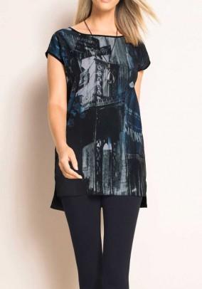Print shirt, grey-black