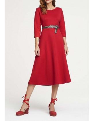 Raudona megzta midi suknelė