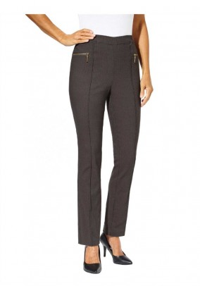 Jacquard stretch trousers, taupe