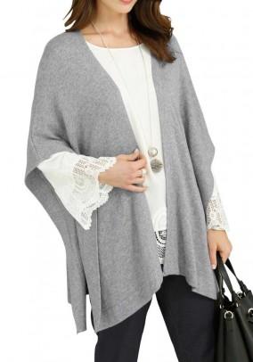 Knit poncho, grey blend