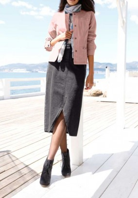 Pilkas džinsinis sijonas