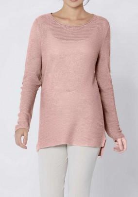 Rib knit sweater, rose