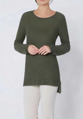 Luxury rib knit sweater, khaki